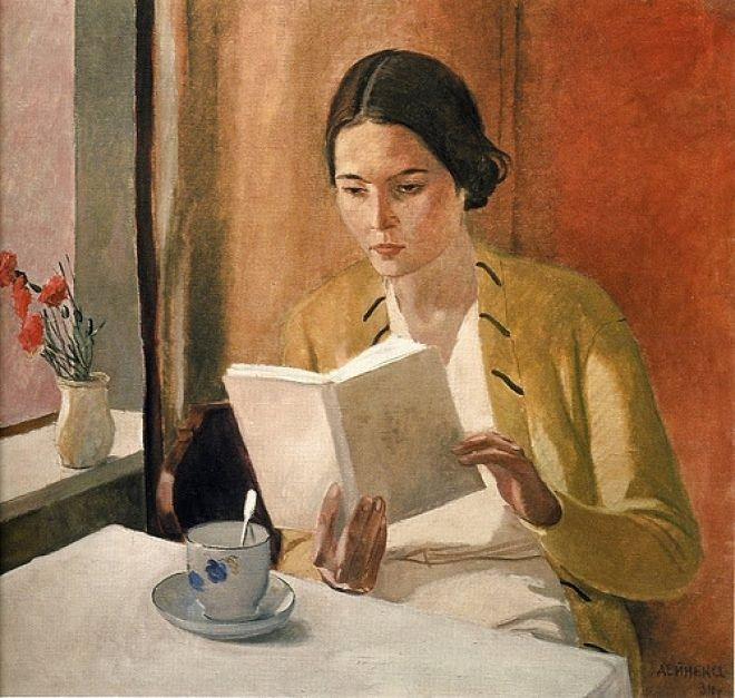 Mujer con libro de Alexandre Deineka