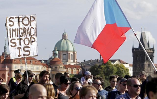 Manisfetsción contra inmigración en Praga